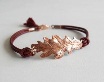 Rose Gold Oak Leaf Bracelet - Burgundy Leather Cord - Gift for Her - Womens Gift - Girlfriend Gift - Graduation Gift