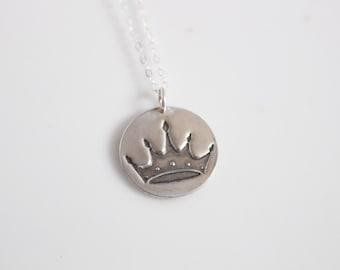 Zeta Tau Alpha Crown Necklace in Silver / ZTA Sorority Jewelry // Crown Necklace / Senior Gift / Initiation Gift