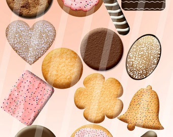 Digital Printable Scrapbook Embellishment Cookie Collection