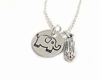 Elly The Elephant Gets A Peanut - Sterling Silver Handstamped Pendant Jewelry