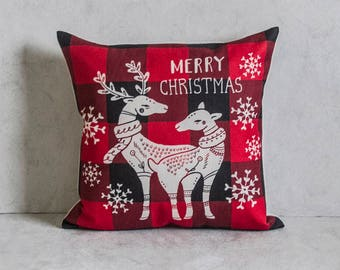 Plaid Reindeer Pillow Cover, Plaid Pattern Pillow Cover, Pillow Covers, Throw Pillow, Christmas Pillow Cover, Decorative Pillow Cover