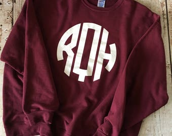 Monogrammed Sweatshirt- Vine Font, Monogrammed Crewneck, Sweatshirt Monogram, Monogrammed Pullover, Crewneck Sweatshirt, Pullover Sweatshirt