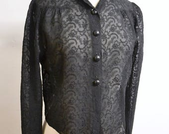 1940s Embroidered sheer silk blouse / 40s small collar long sleeved evening shirt - M L