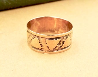 Art Deco 10k GOLD WEDDING BAND Ring 10k Yellow Gold Engraved Grapes Vine Ring Size 7
