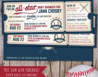 Vintage Baseball Shower Invitation, Baseball Baby Shower Invitation, Baseball Ticket, Little Slugger Baby Shower, FREE sign - PRINTABLE