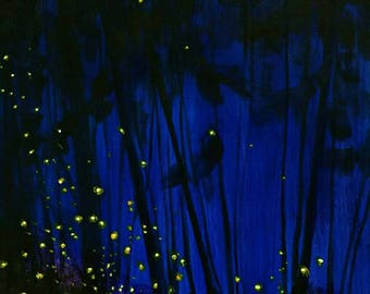 Fireflies, canvas art, acrylic painting, abstract painting