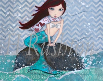 Mermaid Decor - Mermaid Art - Winter Mermaid Art- Mermaid Wall Decor - Mermaid Print- Art Print Sizes 5x7or 8x0 by HRushton