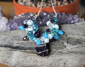 Raw Amethyst Necklace - Beaded Gemstone Jewelry - Rough Stone Necklace - Raw Stone Jewelry - Bohemian Jewelry - Boho Chic - Gypsy Necklace
