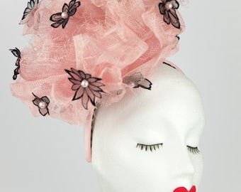 Lilly fascinator & matching bag - pink sinamay - black flock flowers - pink pearls - special occasion