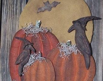 Primitive Halloween Pumpkins and Crows Door Hanger E-PATTERN