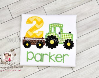 Boy Tractor Birthday Shirt, Toddler Truck Outfit, Farm Truck Outfit, Farm Birthday, 1st, 2nd, 3rd birthday Party, Personalized, Embroidered