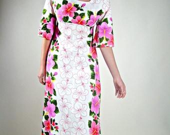 Vintage Hawaiian Dress, Hawaiian Maxi Dress, Broad Cloth Dress, Kawaii Dress, Empire Waist Dress, 1970s Long Dress, 70s Maxi Dress