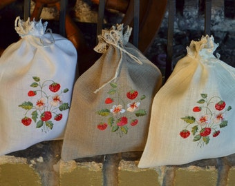 White Gray Beige Natural Linen Gift Herb Present Wedding Bag With Strawberry Embroidery