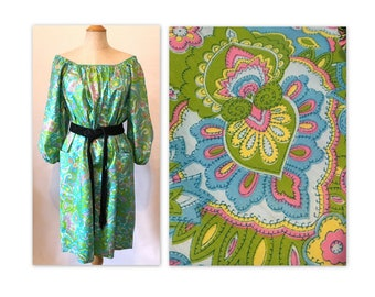 Vintage 60s Off the Shoulder Muumuu Dress S M Abstract Flowers NOS