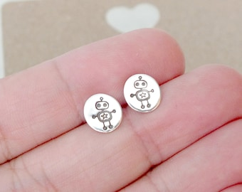 Sterling Silver Robot Design Stud Earrings, Silver Circle Studs, Minimalist Silver Posts, Everyday Studs, Cute Stud Earrings