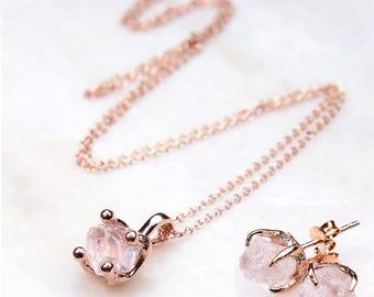 Bridal Jewellery Set. Rose Gold Jewellery Set. Rose Quartz Jewelry Set. Rose Quartz Necklace Earrings set. Rose Gold Necklace and Earrings.