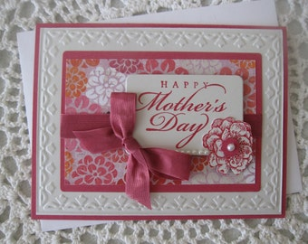 Handmade Greeting Card: Happy Mother's Day (Pink Flowers/Tulips)
