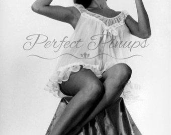 1960s RISQUE FRENCH Pin Up - Woman Silk Lingerie, Antique Home Decor, Vintage Photograph, Wall Art, Postcard Photography, Pinup, Paris