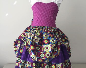 purple geo party dress