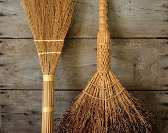 2 Vintage Natural Broomcorn Brooms Handmade Woven Small Straw Brooms Braided Brushes Fireside Hearth Kitchen Sweeps  Americana Camping Witch