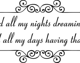 Dreaming love quote wall stickers Printable wall art