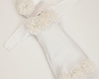 Infant Layette White Baby Gown with Off White Chiffon Flowers and Rhinestones