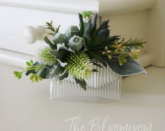 Woodland hair comb, Succulent hair comb, Thistle hair comb, Green, Sage green, Woodland wedding, Gift for daughter, Wedding comb, Dakota