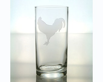 Rooster Cooler Glass /  Free Personalization / 15 oz Etched Rooster Glass / Personalized Tumbler Glass / Personalized Gift