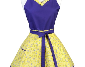 Sweetheart Retro Apron - Purple Yellow Petite Floral Apron - Womens Flirty Sexy Kitchen Pinup Cute Apron with Pocket