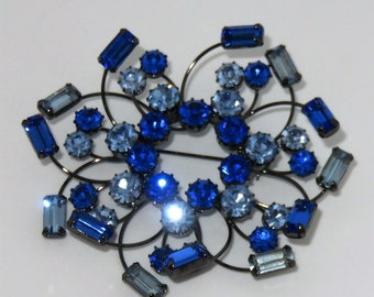 Stunning 3-inch Large Pin Brooch Czech Blue Glass Stones