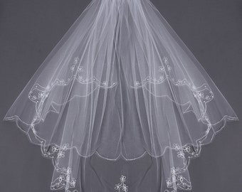 new veil IVORY VEIL with PEARLS and Embriodery hip length