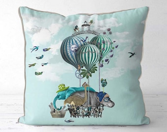 Elephant Gifts Hot air balloon pillow - Off to the Races hot air balloon gift blue throw pillow blue accent pillow hippo gifts Hippopotamus