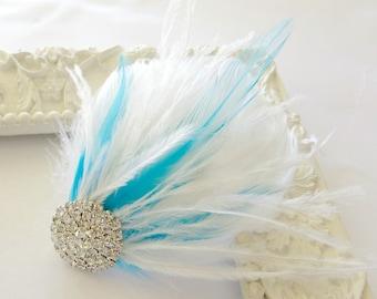 Bridal Bridesmaids Hairpiece Feather Fascinator Wedding Hairpiece Something Blue White
