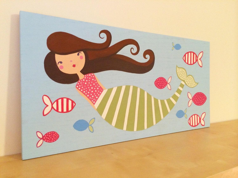 Mermaid Wall Art Girls Mermaid Art Nautical Girls Room