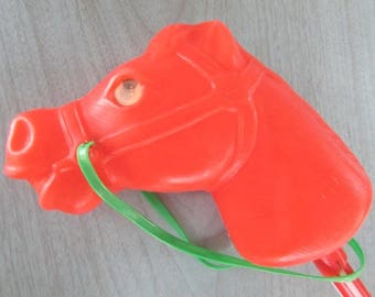 Riding Stick Vintage Hobby Horse 1960 Red Plastic Christmas Colors