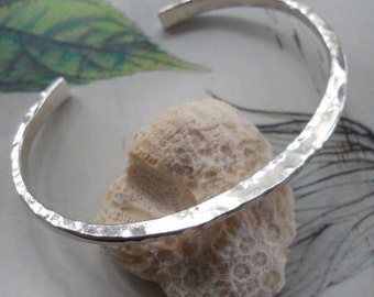 Forged Cuff Bracelet with Modern Edges and Hammered Texture in Solid Sterling Silver - Bright Beauty