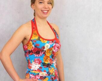Flower Halterneck, Red Flower Halter Top, Womens Underwear, Gift For Her, Neckholdertop, Unique Gift, Yoga Top, Red Halter Top, Haltertop