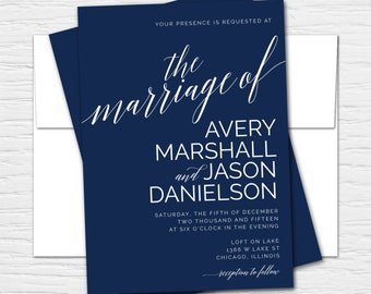 Avery, Clean, Simple, Chic, Elegant, Customizable Wedding Invitation Set