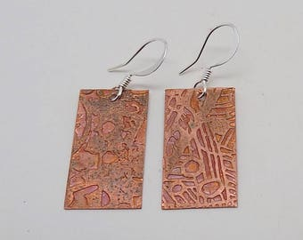 Steampunk copper metal jewelry earrings.Steampunk jewelry earrings.