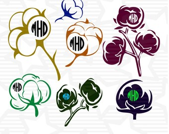 Cotton Boll, Cotton ,Cotton boll Monogram Designs svg,dxf,png,eps,pdf File for  Silhouette Studio Software