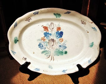 Rare Early Quimper Platter Cul Noir Back Brittany Pottery 19th Century French Farmhouse Country Pottery