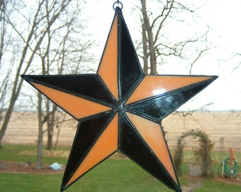Stained Glass Tattoo Orange and Black Nautical Star