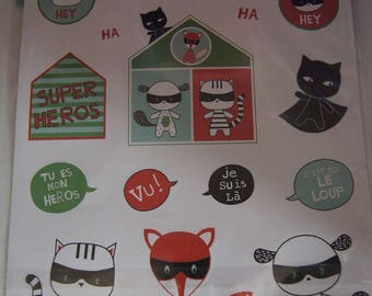 SET OF 2 SHEETS STICKERS BOY SUPER HERO THEME STICKERS