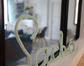 Yarn name for wall decoration made of knitting and wire, personalized gift