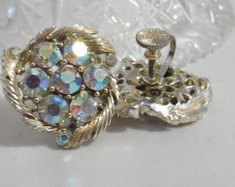 Vintage Lisner AB Crystal Screw on Earrings