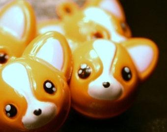 De 4 Chihuahua Corgi Fox Bell charmes en laiton métal jingle Musical Orange brun Tan visage Pet Animal des bois sauvages Sly chien chiot Pomeranian Kid