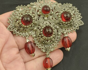 Large 1940s Red Bullet Glass Brooch with Red Dangles ~ Lot 1756