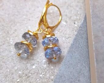 Blue topaz jewellery for women, blue topaz earrings gold, topaz dangle earrings, Christmas gift, birthday gift for her, November birthday