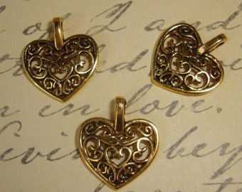 "3 Charms Filigree HEARTS Lovely Valentine pendant style antique bronze 3/4"" jewelry supply Buy 5 Charm Lots, Get 1 Lot FREE  009"