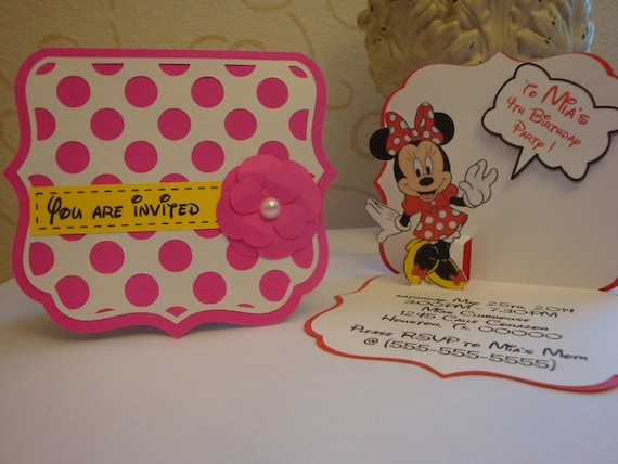Minnie mouse pop up birthday party invitation set of 8 stopboris Image collections